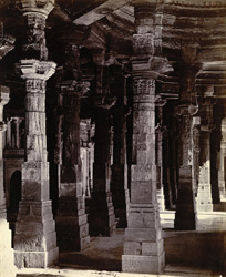 View from the south end of pillars in the interior of the Jami Masjid, Khambhat (Cambay)